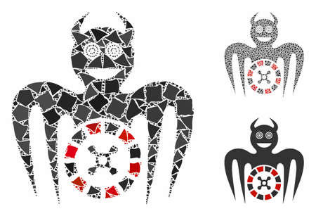 Roulette mad spectre devil mosaic of irregular items in various sizes and color tinges, based on roulette mad spectre devil icon. Vector tuberous items are composed into collage.