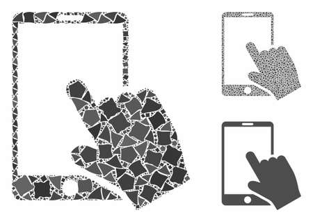 Touch smartphone mosaic of humpy pieces in different sizes and color tinges, based on touch smartphone icon. Vector ragged pieces are grouped into mosaic.