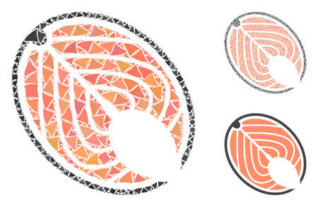 Salmon fish slice mosaic of humpy items in various sizes and color tinges, based on salmon fish slice icon. Vector humpy items are organized into mosaic.
