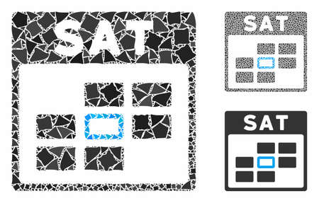 Saturday calendar grid composition of irregular pieces in variable sizes and color tints, based on Saturday calendar grid icon. Vector joggly pieces are grouped into mosaic.