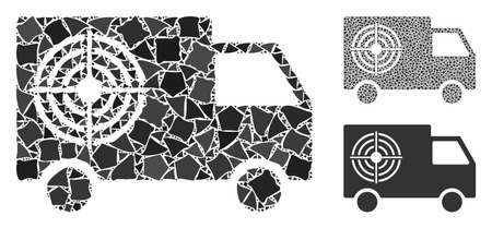 Shooting gallery truck mosaic of abrupt pieces in various sizes and color tinges, based on shooting gallery truck icon. Vector tremulant pieces are composed into mosaic.