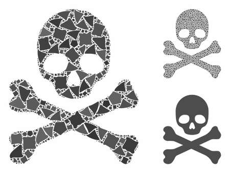 Skull and crossbones mosaic of raggy pieces in variable sizes and color hues, based on skull and crossbones icon. Vector uneven elements are united into mosaic.
