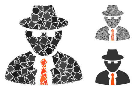 Spy composition of abrupt items in various sizes and color tones, based on spy icon. Vector humpy elements are united into composition. Spy icons collage with dotted pattern.