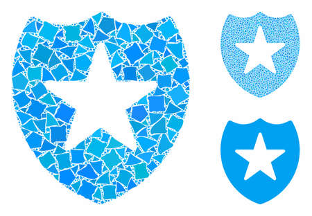 Star shield composition of raggy pieces in different sizes and color hues, based on star shield icon. Vector uneven pieces are organized into composition.