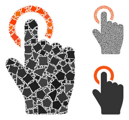 Tap gesture mosaic of tuberous elements in variable sizes and shades, based on tap gesture icon. Vector tuberous dots are composed into mosaic. Tap gesture icons collage with dotted pattern.
