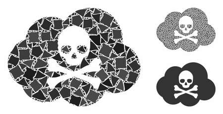 Toxic smoke mosaic of bumpy pieces in various sizes and shades, based on toxic smoke icon. Vector bumpy elements are grouped into collage. Toxic smoke icons collage with dotted pattern. Banque d'images - 133719029