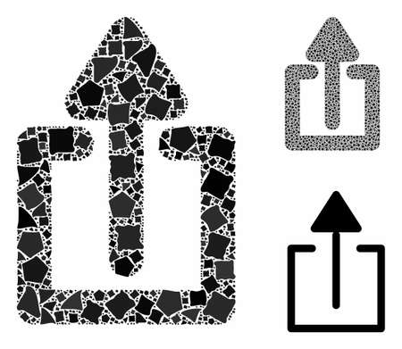 Upload composition of raggy elements in variable sizes and shades, based on upload icon. Vector raggy pieces are organized into composition. Upload icons collage with dotted pattern.