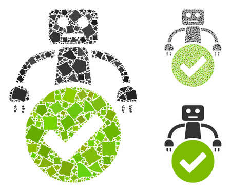 Valid robot mosaic of abrupt elements in various sizes and color tones, based on valid robot icon. Vector abrupt pieces are grouped into collage. Valid robot icons collage with dotted pattern.
