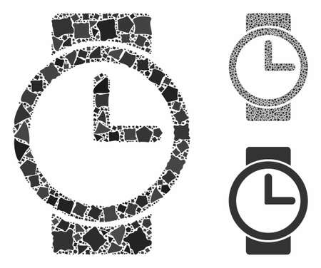 Watches mosaic of inequal elements in different sizes and shades, based on watches icon. Vector uneven elements are grouped into collage. Watches icons collage with dotted pattern.