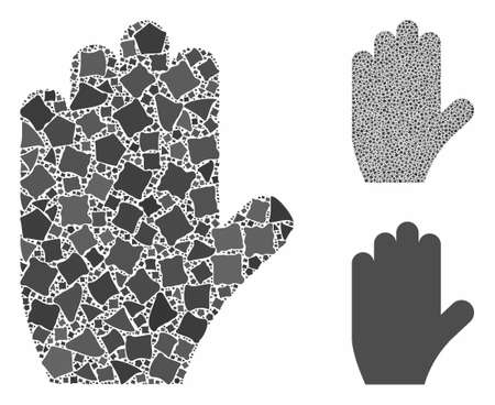 Voting hand composition of uneven parts in different sizes and color tints, based on voting hand icon. Vector joggly parts are united into collage. Voting hand icons collage with dotted pattern. 일러스트