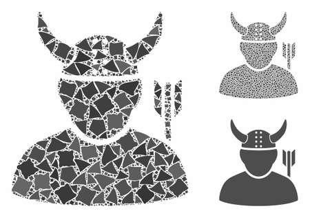 Warrior mosaic of raggy pieces in various sizes and color tinges, based on warrior icon. Vector irregular dots are composed into mosaic. Warrior icons collage with dotted pattern. Çizim