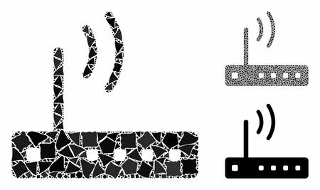 WiFi modem mosaic of tremulant pieces in different sizes and color tones, based on WiFi modem icon. Vector tremulant dots are composed into collage. WiFi modem icons collage with dotted pattern. Illusztráció