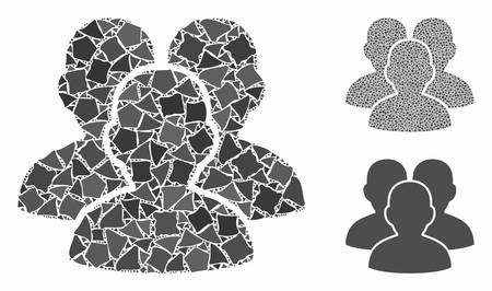 User group mosaic of bumpy items in different sizes and color tints, based on user group icon. Vector tuberous items are combined into collage. User group icons collage with dotted pattern.