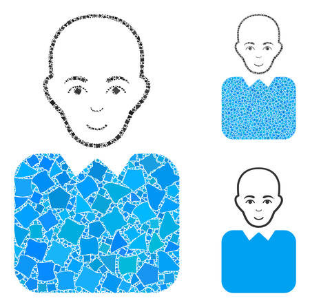 Bald bureaucrat mosaic of rugged items in various sizes and color tones, based on bald bureaucrat icon. Vector ragged items are organized into mosaic.