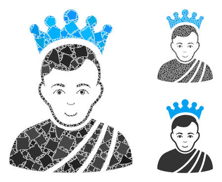 Emperor composition of rough parts in different sizes and color hues, based on emperor icon. Vector bumpy parts are combined into illustration. Emperor icons collage with dotted pattern.