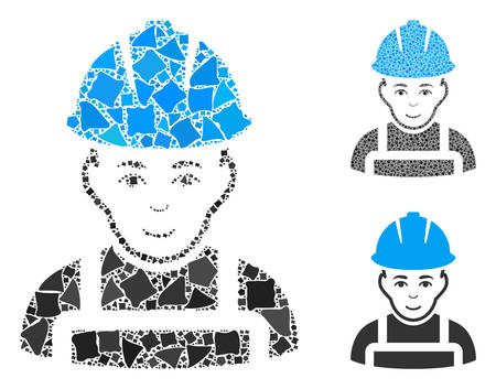 Glad worker mosaic of ragged parts in variable sizes and color hues, based on glad worker icon. Vector inequal parts are organized into mosaic. Glad worker icons collage with dotted pattern.