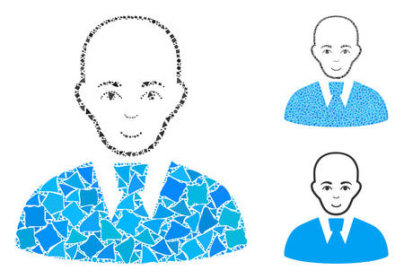 Bald clerk mosaic of irregular elements in different sizes and shades, based on bald clerk icon. Vector irregular elements are composed into mosaic. Bald clerk icons collage with dotted pattern.