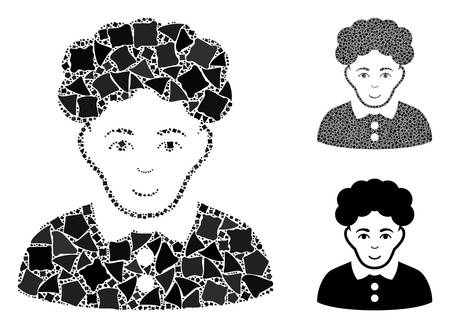 Brunette woman mosaic of uneven parts in different sizes and shades, based on brunette woman icon. Vector tuberous parts are grouped into collage. Brunette woman icons collage with dotted pattern.