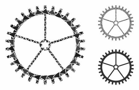 Tooth wheel mosaic of rough elements in different sizes and color tones, based on tooth wheel icon. Vector rough parts are composed into collage. Tooth wheel icons collage with dotted pattern.