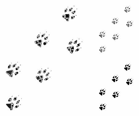 Wolf track mosaic of tuberous pieces in various sizes and color hues, based on wolf track icon. Vector tuberous elements are grouped into collage. Wolf track icons collage with dotted pattern.