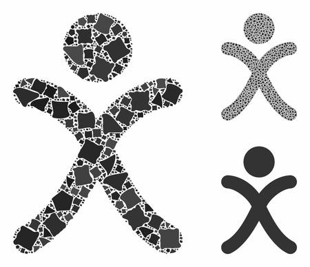 X generation boy mosaic of irregular parts in different sizes and color tones, based on x generation boy icon. Vector irregular pieces are organized into collage.