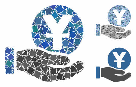 Yuan coin payment hand mosaic of uneven parts in different sizes and shades, based on yuan coin payment hand icon. Vector rugged parts are organized into collage.