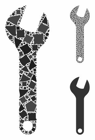 Wrench composition of abrupt pieces in various sizes and shades, based on wrench icon. Vector abrupt pieces are composed into composition. Wrench icons collage with dotted pattern. Ilustrace