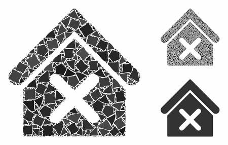 Wrong house mosaic of humpy pieces in different sizes and color tints, based on wrong house icon. Vector humpy pieces are organized into collage. Wrong house icons collage with dotted pattern.