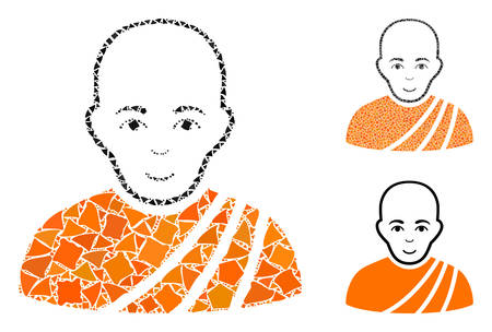 Buddhist monk composition of ragged elements in various sizes and color hues, based on buddhist monk icon. Vector ragged elements are combined into mosaic.