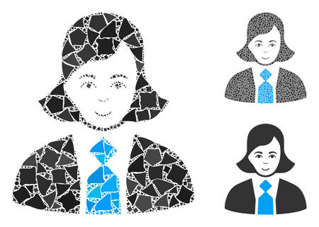 Business woman composition of irregular pieces in various sizes and color tinges, based on business woman icon. Vector unequal pieces are organized into collage.
