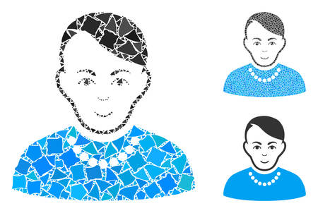 Trendy guy mosaic of tuberous parts in various sizes and color tones, based on trendy guy icon. Vector tuberous elements are combined into mosaic. Trendy guy icons collage with dotted pattern.
