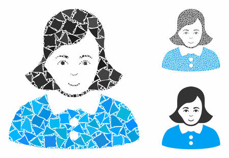 Woman mosaic of ragged elements in different sizes and shades, based on woman icon. Vector unequal elements are united into collage. Woman icons collage with dotted pattern.
