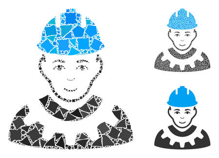 Industrial builder mosaic of rough pieces in variable sizes and color tinges, based on industrial builder icon. Vector bumpy pieces are composed into collage.