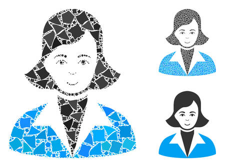 Lady mosaic of unequal items in variable sizes and color tints, based on lady icon. Vector unequal pieces are composed into mosaic. Lady icons collage with dotted pattern. Illusztráció
