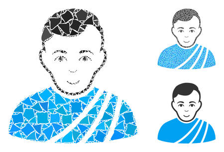 Patrician citizen mosaic of uneven pieces in variable sizes and color tinges, based on patrician citizen icon. Vector tremulant pieces are composed into mosaic.