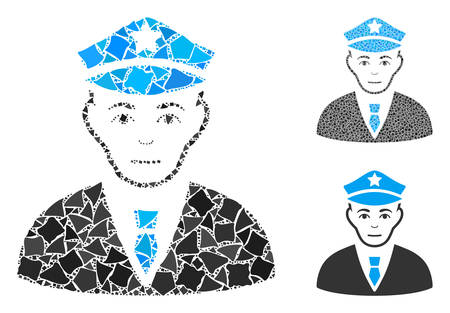 Policeman composition of rugged parts in variable sizes and color tinges, based on policeman icon. Vector bumpy elements are united into composition. Policeman icons collage with dotted pattern. Illusztráció