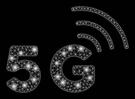 Glowing mesh 5G with sparkle effect. Abstract illuminated model of 5G icon. Shiny wire frame triangular mesh 5G. Vector abstraction on a black background. Illusztráció