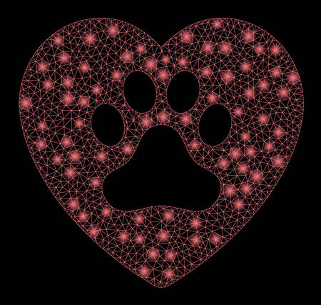Flare mesh dog love heart with lightspot effect. Abstract illuminated model of dog love heart icon. Shiny wire frame polygonal network dog love heart. Vector abstraction on a black background. Vettoriali