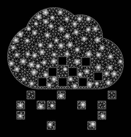 Glossy mesh cloud dissipation with sparkle effect. Abstract illuminated model of cloud dissipation icon. Shiny wire frame triangular network cloud dissipation. 일러스트