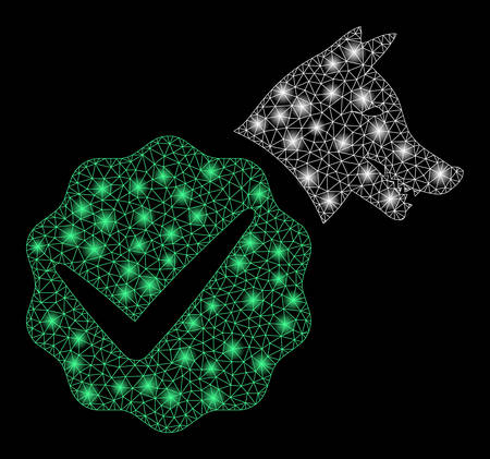Glossy mesh for dogs only with glitter effect. Abstract illuminated model of for dogs only icon. Shiny wire frame polygonal mesh for dogs only. Vector abstraction on a black background. Stok Fotoğraf - 133777671