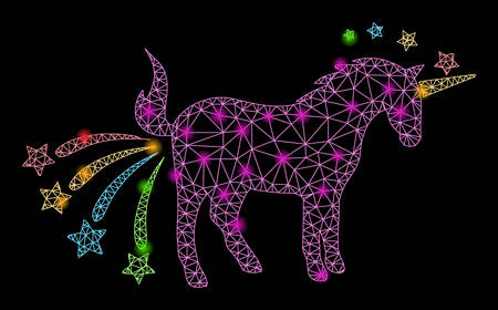Bright mesh farting unicorn with lightspot effect. Abstract illuminated model of farting unicorn icon. Shiny wire carcass polygonal mesh farting unicorn. Vector abstraction on a black background.
