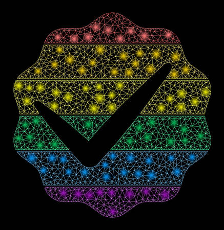 Flare mesh for LGBT only with glow effect. Abstract illuminated model of for LGBT only icon. Shiny wire carcass polygonal mesh for LGBT only. Vector abstraction on a black background. Stok Fotoğraf - 133777718