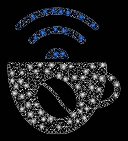 Glossy mesh coffee wifi source with glare effect. Abstract illuminated model of coffee wifi source icon. Shiny wire carcass triangular mesh coffee wifi source. Иллюстрация