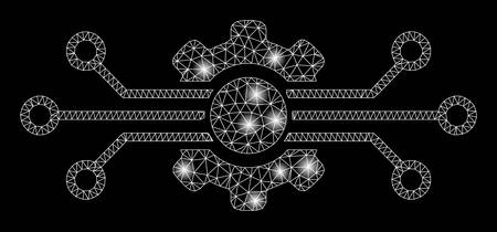 Glossy mesh digital tech with glare effect. Abstract illuminated model of digital tech icon. Shiny wire frame triangular mesh digital tech. Vector abstraction on a black background.