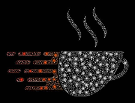 Glowing mesh express coffee with glitter effect. Abstract illuminated model of express coffee icon. Shiny wire carcass triangular mesh express coffee. Vector abstraction on a black background.