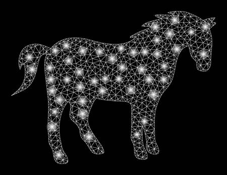 Glowing mesh horse with lightspot effect. Abstract illuminated model of horse icon. Shiny wire frame triangular mesh horse. Vector abstraction on a black background.