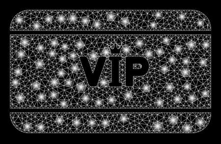 Glowing mesh VIP access card with lightspot effect. Abstract illuminated model of VIP access card icon. Shiny wire frame triangular network VIP access card. Vector abstraction on a black background. Vectores