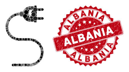 Mosaic electrical cable and grunge stamp seal with Albania caption. Mosaic vector is composed with electrical cable icon and with randomized circle spots. Albania stamp seal uses red color,