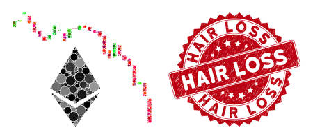 Mosaic Ethereum fall chart and rubber stamp seal with Hair Loss phrase. Mosaic vector is designed from Ethereum fall chart icon and with random round elements. Hair Loss stamp seal uses red color,