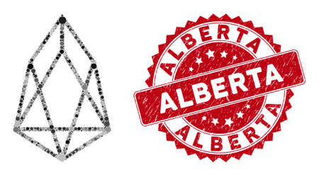 Collage eos currency and corroded stamp seal with Alberta text. Mosaic vector is composed with eos currency icon and with randomized spheric elements. Alberta stamp seal uses red color,